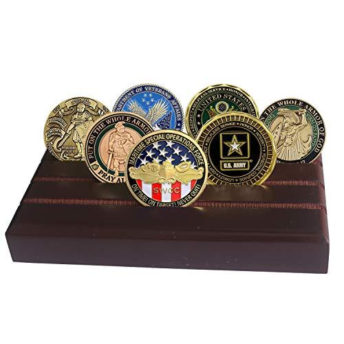 LZWIN 4Zeilen Münzhalter, US Army Military Collectible Challenge Coin Display Case Wood, Ständer, hält 12-16Münzen