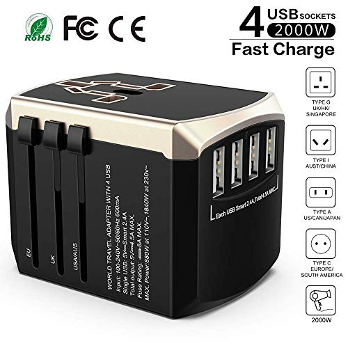 Universal Reiseadapter Weltweit Reisestecker-Luxsure Sicherheit Travel Adapter 4 USB Stecker für 190 Ländern USA UK EU AUS Thailand AC Schnelles Ladestecker Internationale Reiseadapter stromadapter - Adapter International Usb