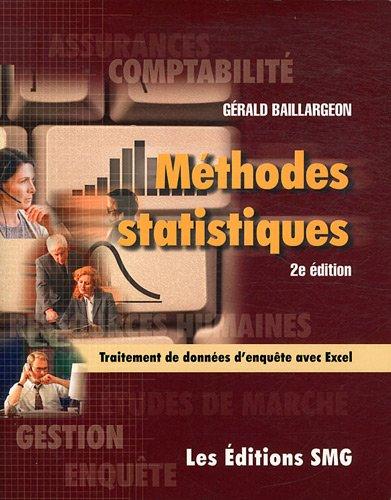 Méthodes statistiques pour les programmes de comptabilité et de gestion (1Cédérom)