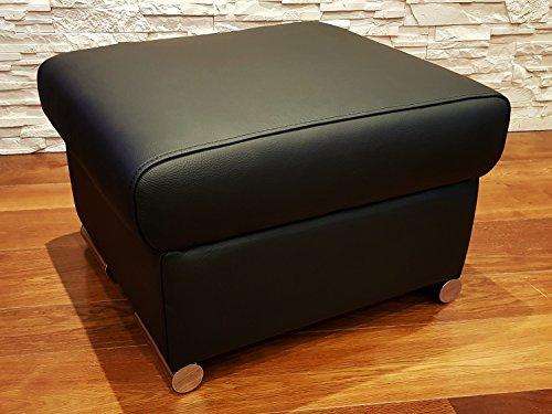 Schwarz Echtleder Hocker Sitzhocker Rindsleder Sitzwürfel 60x55 Fußhocker Polsterhocker Echt Leder Puff Leder-puff