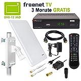 HB-DIGITAL DVB-T2 Set: Opticum AX500 freenetTV HEVC DVB-T/T2 Receiver AX 500 + Opticum AX800 Aktive Antenne (Full HD H.265 HDTV HDMI SCART USB LAN Ethernet SPDIF DVBT DVBT2 Irdeto Verschlüsselung)