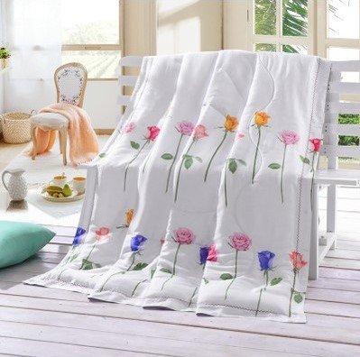King/Queen Bett Comforter Quilt Sommer atmungsaktiv Hollowfibre gefüllte Federn Quilt, Doppel Seide Sommer kühlen Sommer Daunendecke, französische Rose, 240 X 220 Cm (Bettdecke Queen-französisch)