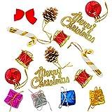 PartyHut Christmas Decorations Kits Christmas Tree Decorations, Christmas Ball, Five Pointed Stars, Red Bowknot Decor Set Free 1 Santa Cap