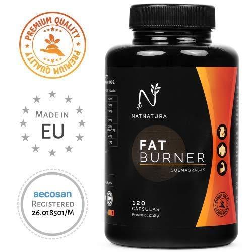 FAT BURNER Nº1. Potente quemagrasas natural alto rendimiento. Termogénico para adelgazar. Suplemento deportivo, quema grasa abdominal, supresor del apetito. 120 cápsulas vegetales alta concentración.