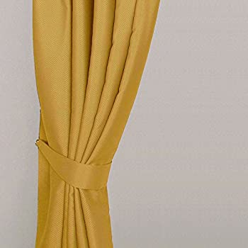 Homescapes Mustard Yellow Ochre Embossed Curtain Tie Backs Pair Herringbone  Chevron Textured Retro Geometric Design 2 Tie Backs For Curtains U2013  Coordinating ...