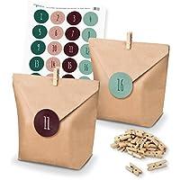 Calendrier de l'Avent à remplir soi-même Itenga - Sacs-cadeaux, supports, autocollants pour les nombres Motiv Z14 Grün Rot Schlicht