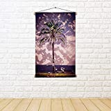 ArtzFolio Palm Trees Along Coast In Palma De Mallorca, Spain D2 Satin Painting Tapestry Scroll Art Hanging 12 X 18Inch