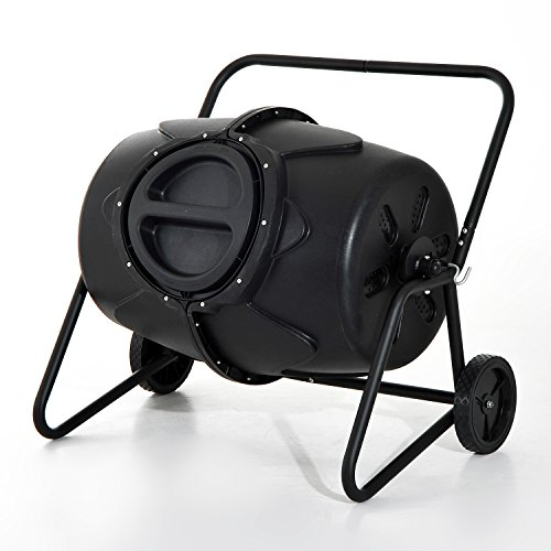 Outsunny Garten 170L Kompost Tumbler (Heavy Duty recyclebaren Abfall Kompost Barrel Bin w/Räder Griffe