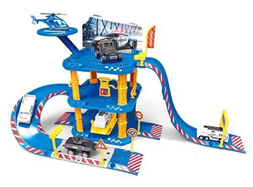 ★ Polizeistation Parkhaus Rennbahn mit spielzeugauto und Hubschrauber ★ thumbnail