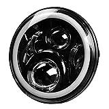 PPSAERTE® Fari a LED da 7 pollici 40W Cree con Multicolore RGB Halo Angle Eye APP Telecomando Bluetooth per Jeep Wrangler TJ JK Hummer H1 H2 Proiettore