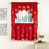 "Lorraine Home Fashions Metallic Snowflake Window Curtain Swag, 58"" x 36"", Red"