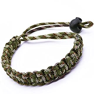 Maveek Adjustable Braided 550 Paracord Camera Wrist Strap/Bracelet for Cameras (Green Camouflage)