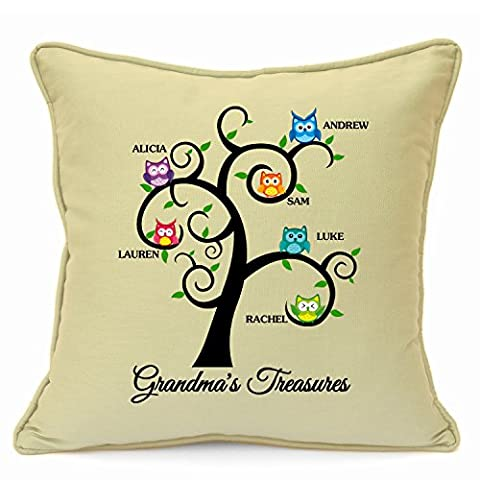 Personalised Gift for Grandma Family Tree Cushion Cover Gift Size 18 Inch 45 cm Perfect Finishing Touch To Your Home Beige