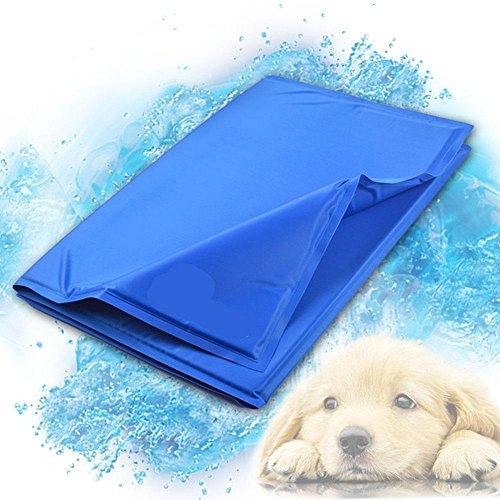 Reisen Kiste Hund (Premium selbst Kühlung tragbar Druck aktiviert Pet Kühlendes Gel Pad Matte für Hunde Katzen Austrocknung verhindern ideal für Reisen Boden Couch Auto Sitz Kisten, Polyester, blau, M (US Size= 5 - 8))