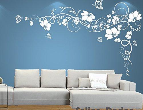 Ufengke fiore rosso della vite e farfalle adesivi murali camera da letto soggiorno adesivi da - Dipinti camera da letto ...