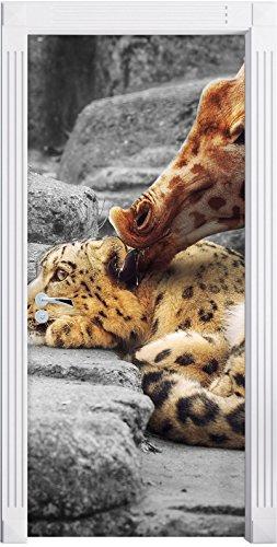 kuschel-santander-leopard-and-giraffe-b-w-detail-format-200x90cm-door-frame-door-stickers-door-decor