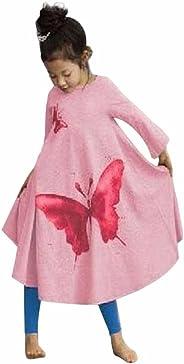 AMUSTER.DAN Mädchen Kinder Kleid Baby Mädchen Lange Ärmel Schmetterlings-Druck O-Ausschnitt Baumwollkleid