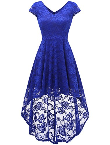 AONOUR Damen Elegant Hi-Lo Cocktailkleider Floral Spitze V-Ausschnitt Abendkleider Cap Ärmel