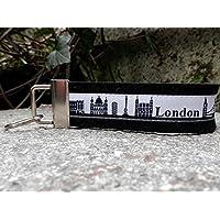 Schlüsselanhänger Schlüsselband Filz schwarz London Skyline schwarz weiß Geschenk!
