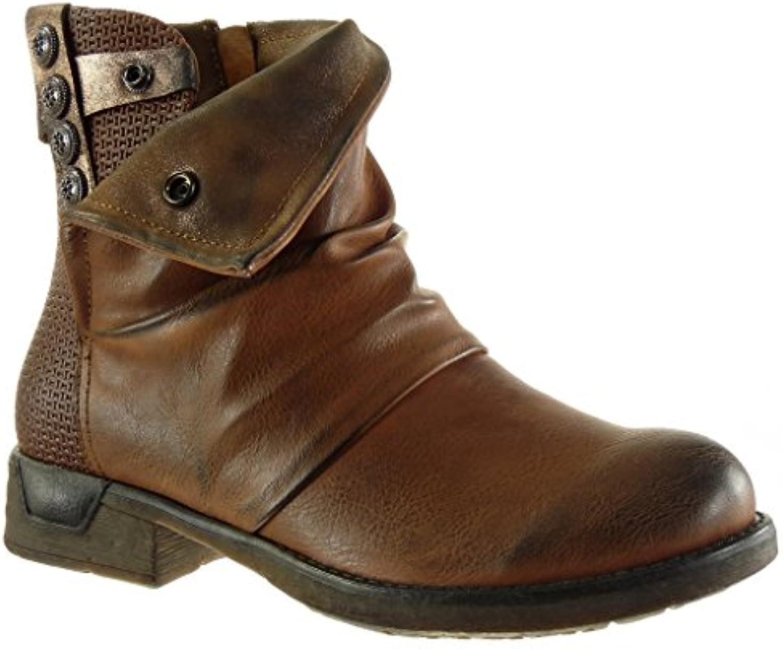 Angkorly - damen Schuhe Stiefeletten - Biker - Reitstiefel - Kavalier - Classic - Geflochten - große Tasten Blockabsatzö
