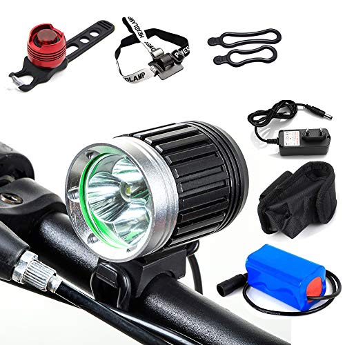 TANSUO Light Bicycle Front Led Spotlight Bike Led Bicycle Lights 4000LM 3 x CREE XM-L T6 with Battery and Charger + Tail Light