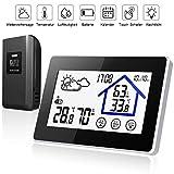 Wetterstation Funk mit Außensensor Wettervorhersage, Digital Thermometer-Hygrometer für Innen und außen, mit Uhrzeitanzeige,Touchscreen