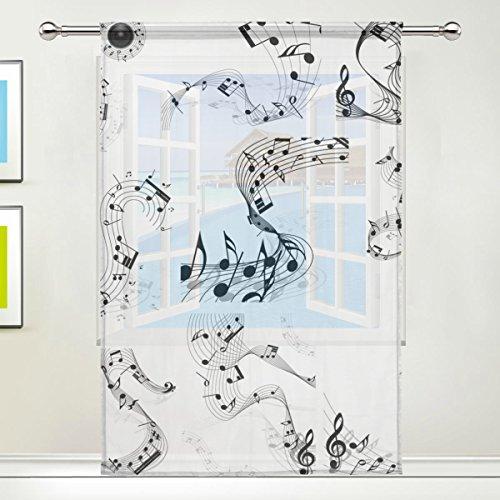 Neuheit Floral-design-print (jstel Musik Muster Floral Print Tüll Voile Tür Fenster Zimmer Sheer Vorhang Tuch 1Panel Schal Volants breit Breite Gaze Vorhang für Schlafzimmer 139,7x 198,1cm, Single Panel, Polyester, 55 x 78 Inch)