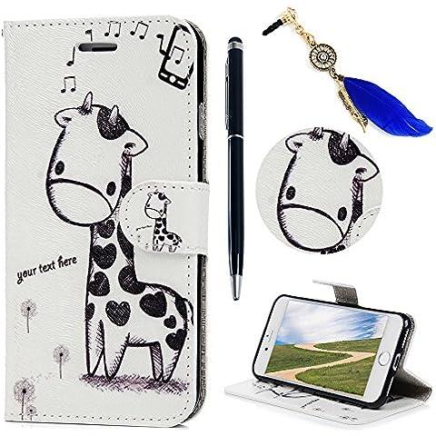 iPhone 7 Funda, Lanveni Flip Case Cover de cuero PU Piel para iPhone 7 4.7 pulgadas con Cierre Magnético y Función de Soporte - Patrón Jirafa Diseño + lápiz capacitivo + Enchufe anti del polvo