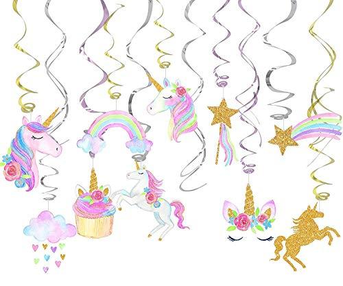 MAFENT Einhorn Party Supplies Einhorn Hängen Schwenken Dekorationen Spiral Girlanden Rainbow Unicorn für Kinderparty Mädchen Geburtstags Dekoration Fantasy Fairy Girls Geburtstagsparty (30 stück)