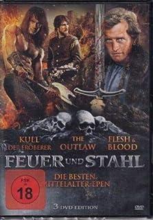 Mittelalter Epen Box FEUER & STAHL Fleisch und Blut ( FLESH & BLOOD ) + The Outlaw + KULL DER EROBERER 3 DVD Limited Edition