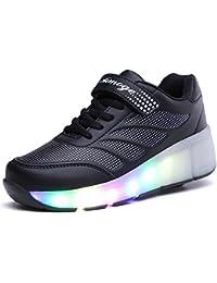 SGoodshoes Hombre Zapatillas con Ruedas LED 7 Colores de Luz Mujer Zapatillas con Luces Zapatos con Ruedas Niños Niñas