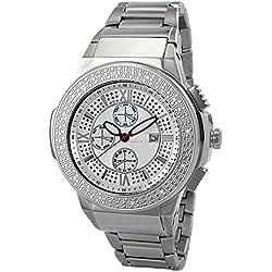 "Just Bling Herren JB-6101-B ""Luna Silver"" Edelstahl Sunray Diamond Watch"