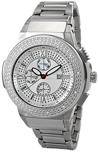 JBW MEN'S SAXON DIAMOND 46MM STEEL BRACELET SWISS QUARTZ WATCH JB-6101-B