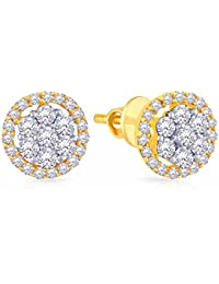 Malabar Gold And Diamonds 18KT Yellow Gold And Diamond Stud Earrings For Women