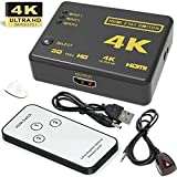 HDMI Switch 4 K, goodlucking Intelligente 3-Port-HDMI Switcher, Splitter, unterstützt 4 K, Full HD1080P, 3D mit IR-Fernbedienung