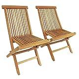 Bentley Garden - Lot de 2 chaises pliantes de jardin - teck massif
