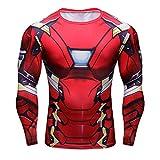 Born2RideTM Shirt im Superheld-Kostüm für Fitnessstudio/Radsport, Compression Baselayer T-Shirt mit kurzen Armen für Herren Gr. S, New Ironman