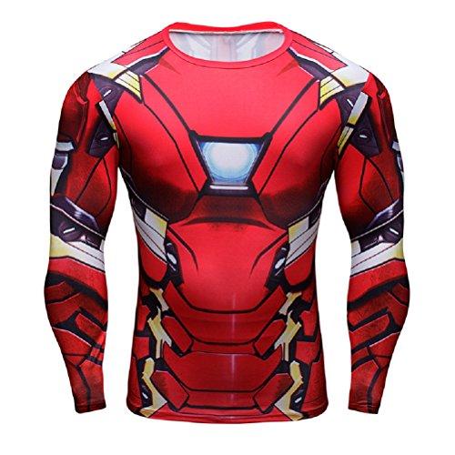 Superheld-Kostüm für Fitnessstudio/Radsport, Compression Baselayer T-Shirt mit kurzen Armen für Herren Gr. S, New Ironman (Iron Man Kostüme Männer)
