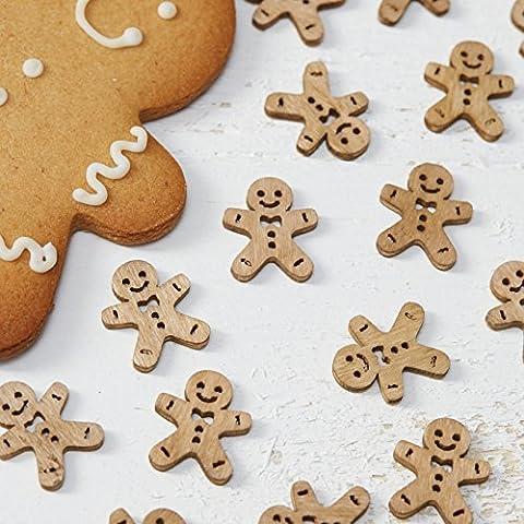 Ginger Ray bonhomme en Pain d'épice de Noël en bois pour décoration de Table 24 pièces Motif Noël