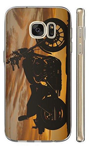 Hülle für Samsung Galaxy S6 Edge Hülle Softcase TPU Handyhülle für Samsung S6 Edge Cover Backkover Schutzhülle Slim Case (1599 Motorrad Chopper Bei Nacht) -
