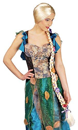 Perücke Rapunzel Kostüm Und - Blonde Langhaar Perücke Rapunzel mit extrem langem Zopf - Zubehör für Damen zum Märchen Kostüm