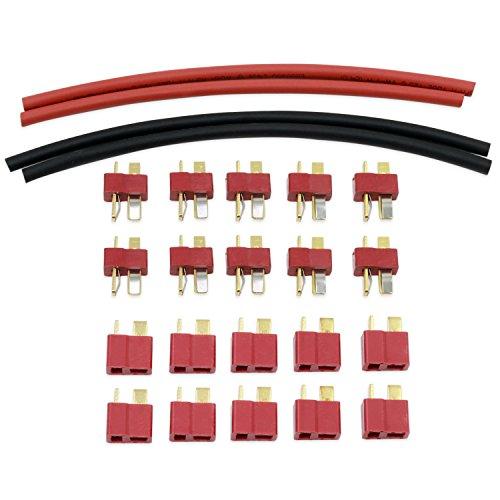Rc-buchsen (KEESIN T Stecker und Buchse Rundstecker mit Schrumpfschlauch für RC Lipo Akku 10 Paar)