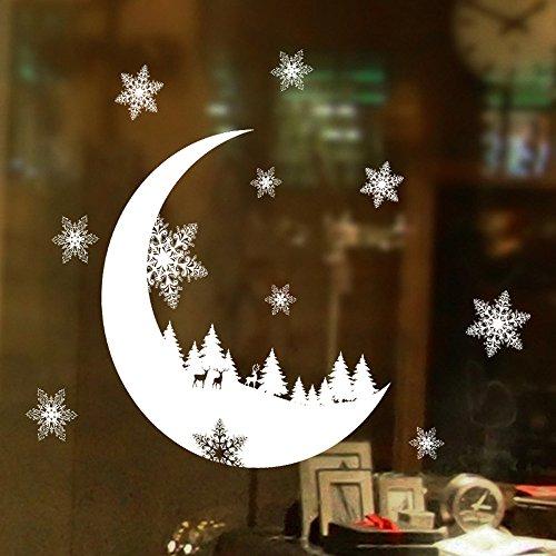 hnachtsdekoration Fototapete Moderne Wanddeko Wandtapete Wand Dekoration Aufkleber Fenster Aufkleber Home Decor Weihnachten Schnee Schlafzimmer Wandaufkleber(25 * 35cm) ()
