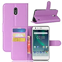 Nokia 2 Case, HualuBro [All Around Protection] Premium PU Leather Wallet Flip Phone Protective Case Cover with Card Slots for Nokia 2 Smartphone (Purple)