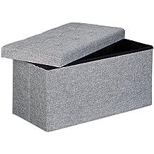 Relaxdays - Banco plegable con espacio de almacenamiento hecho de lino con medidas 38 x 76 x 38 cm capacidad de 85 L asiento baúl, color gris