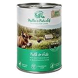 Müllers Naturhof   Kalb und Pute   6 x 400 g   Nassfutter für alle Hunderassen   getreidefrei und glutenfrei   mit Gartengemüse und Wiesenkräutern   naturnahe Rezeptur mit 65% Fleisch