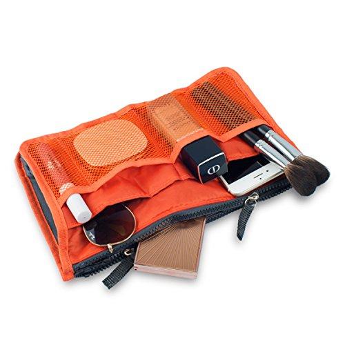 - 51alPLtK6DL - Hee Grand Women's Handbag Organiser Liner Tidy Travel Cosmetic Pocket Insert 12 Pockets Large Orange