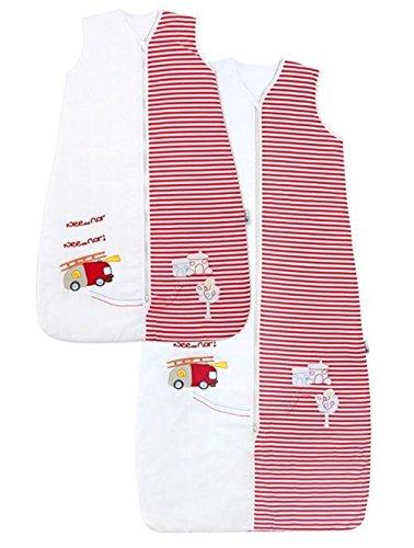 Schlummersack Baby Ganzjahres Schlafsack 2.5 Tog - Feuerwehr - erhältlich in verschiedenen Grössen: von Geburt bis 3 Jahre, Rot/Weiss, 6 - 18 Monate / 90cm
