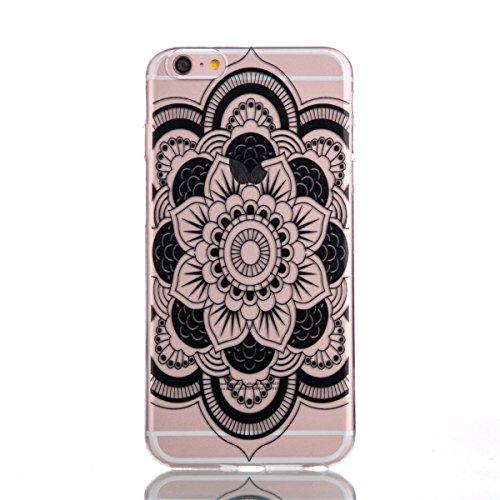Ekakashop Transparent Hülle für Apple iPhone 6 Plus/6s Plus 5.5 Zoll, Modisch Durchsichtig Hüllen mit Schwarz Ananas Muster Weiche TPU Soft Silikon Handyhülle Schutzhülle Rückseite Etui für iPhone 6s  Datura Blumen