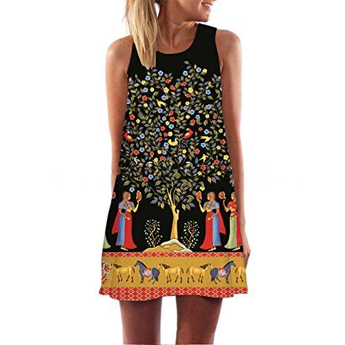 ROPALIA Femme Mini Robe Imprime Lache sans Manches de 10 motifs S M L XL. Arbre
